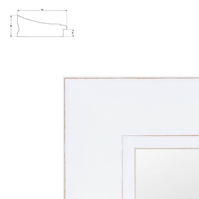 Cadre blanc large en pente patine essuyée