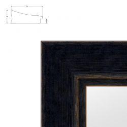 Cadre noir large en pente patine essuyée