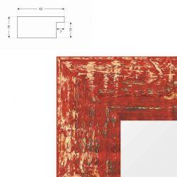 Cadre effet raboté rouge