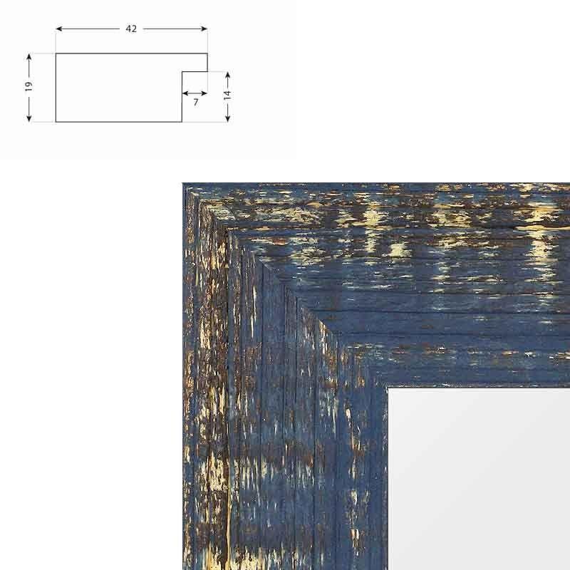 Cadre effet raboté bleu