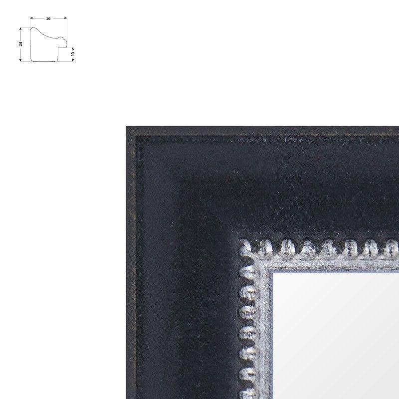 Cadre incurvé noir avec rang de perles