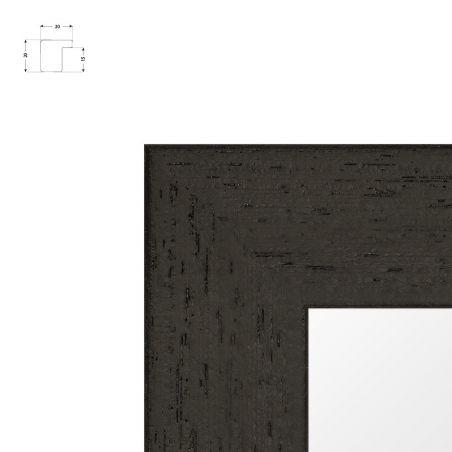 Cadre fin en bois avec patine essuyée noir