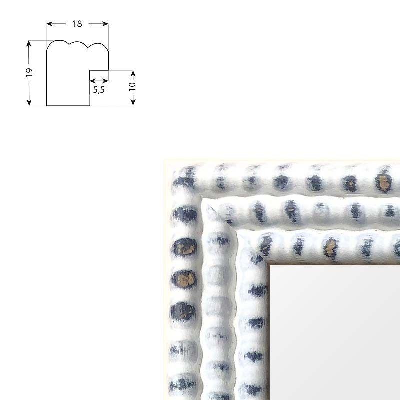 Cadre blanc petites perles patiné